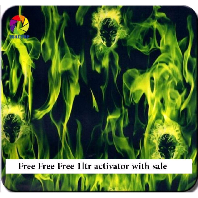 FREE ACTIVATOR WITH 5 MTRS Hydrographic Film   Hydro-Dipping Hydro Dip  Green Flame